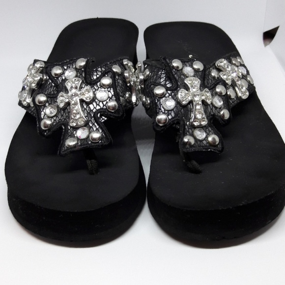 c9702f9e8b77 Grazie Shoes - Grazie Cross rhinestone wedge flip-flops